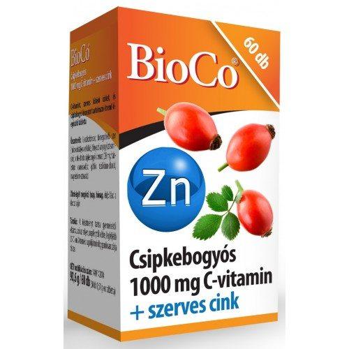 BioCo Csipkebogyós 1000 mg C-vitamin + Szerves Cink tabletta - 60 db tabletta