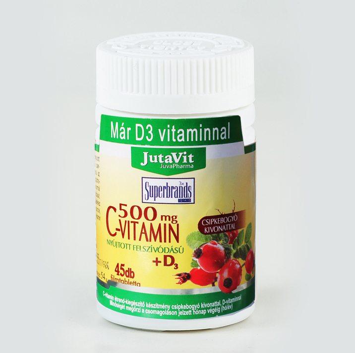 Jutavit C-vitamin 500mg + D3-vitamin tabletta - 100db