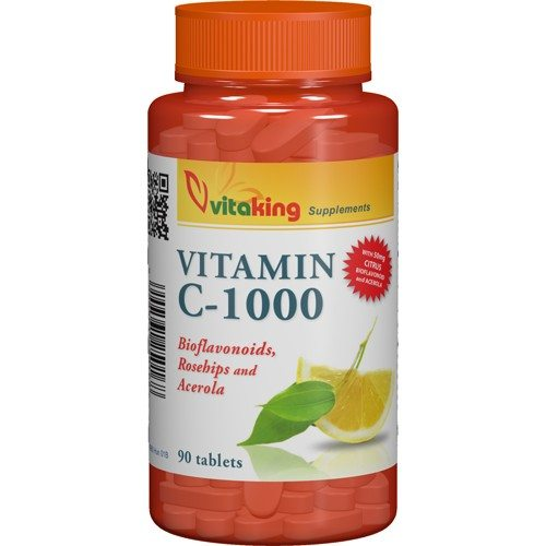 Vitaking C-vitamin 1000mg Bioflavonoid, acerola, csipkebogyó tabletta - 90db