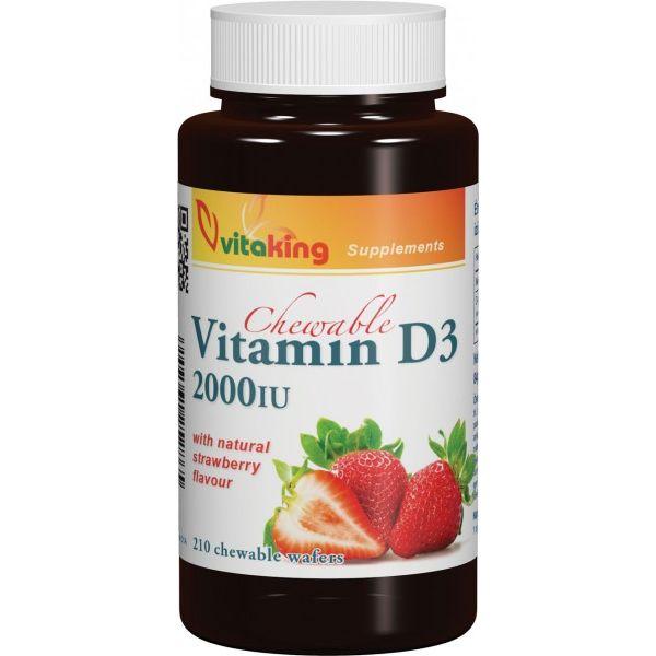 Vitaking D3-vitamin 2000NE epres ízű rágótabletta - 210db