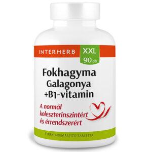 Interherb XXL galagonya, fokhagyma + B1-vitamin tabletta - 90 db