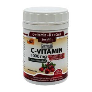 Jutavit C+D+Cink C-vitamin 1000mg + D3-vitamin 400NE tabletta - 100db