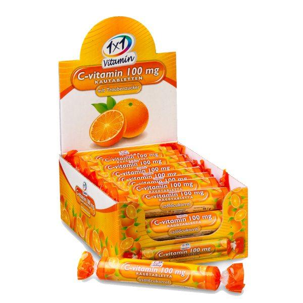 1x1 Vitaday C-vitamin narancsos szőlőcukor rágótabletta - 17db