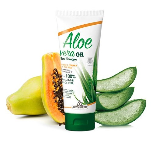 Specchiasol 100%-os Aloe Vera gél papajával, A-, C-, E- vitaminnal és narancs illóolajjal - 200ml