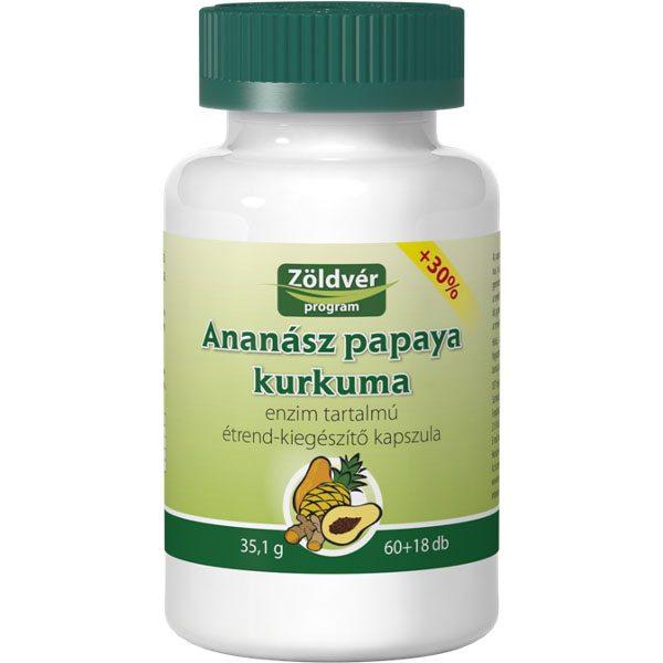 Zöldvér ananász-papaya-kurkuma kapszula - 60+18db