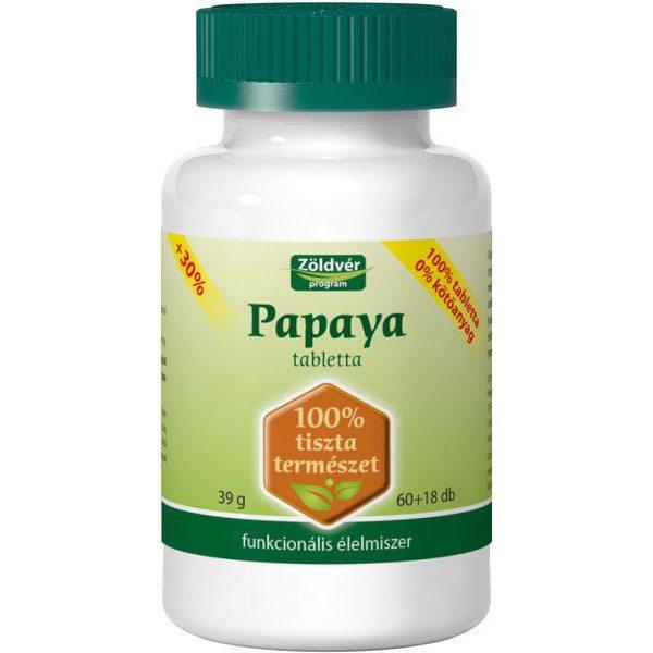 Zöldvér 100%-os papaya tabletta - 60+18 db