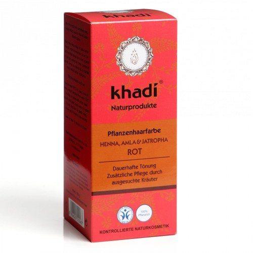 Khadi Hajfesték por - Vörös, henna, amla és jatropha növényekkel - 100g