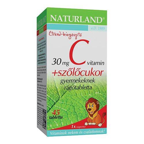 Naturland C-vitamin + szőlőcukor rágótabletta - 45db