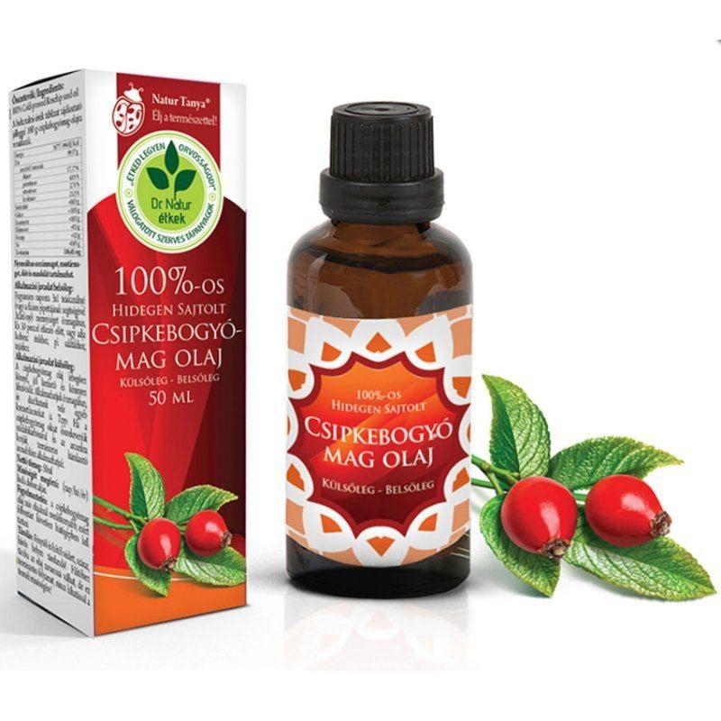 Dr. Natur étkek Csipkebogyómag olaj - 100%-os, Hidegen sajtolt - külsőleg - belsőleg - 50ml