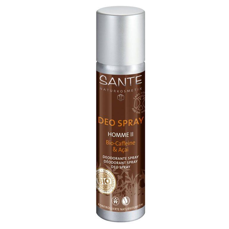 Sante Homme II deo spray Bio koffeinnel és bio Akai bogyó kivonattal - 100 ml