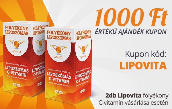 1000 Ft értékű ajándék kupon 2db Lipovita folyékony C-vitamin vásárlása esetén!