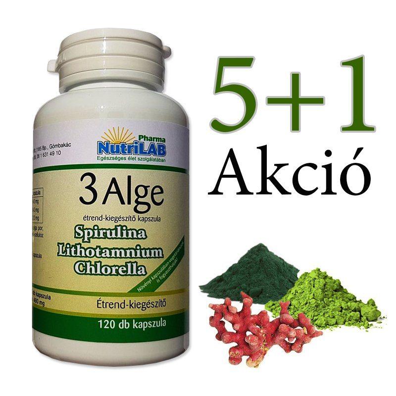 Nutrilab 3 Alge - Spirulina, Chlorella és Vörös alga kapszula 5+1 akció - 6x120db