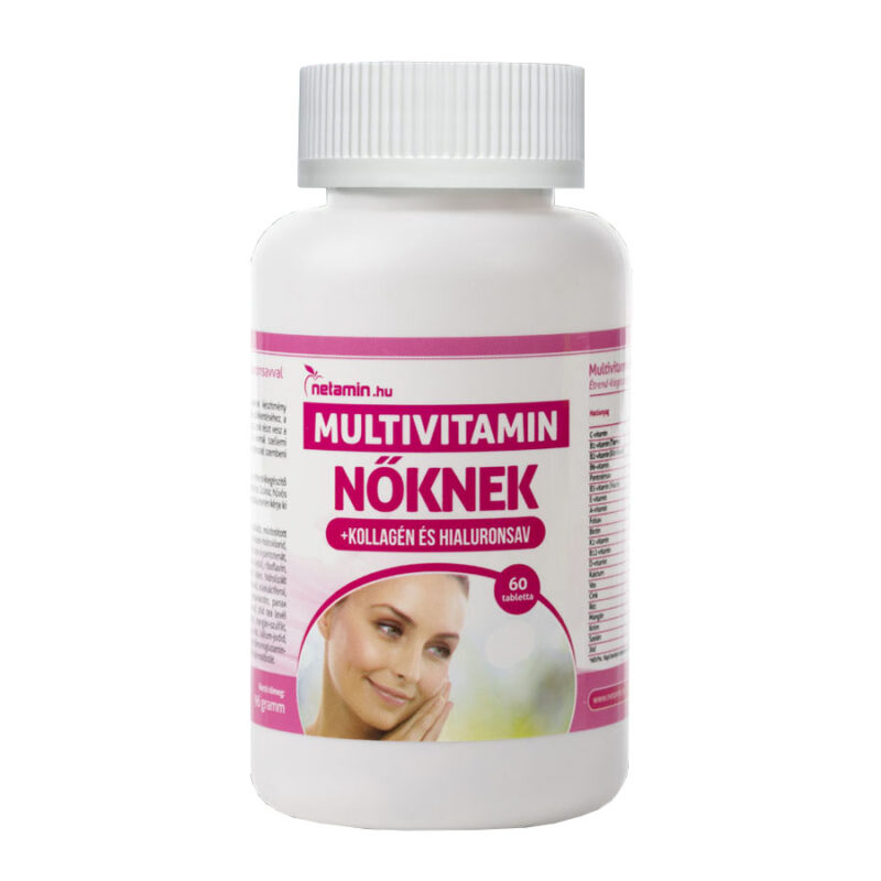 Netamin Multivitamin Nőknek kollagénnel és hialuronsavval tabletta – 60db