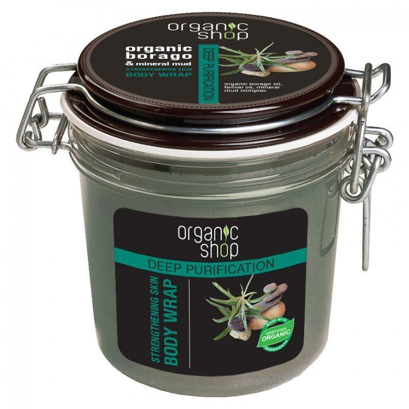 Organic Shop Mélytisztító pakolás bio borágó kivonattal és ásványi iszappal - 350ml