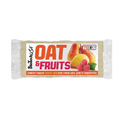 BioTech USA Oat & Fruit joghurtos körte-málna szelet - 70g