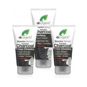 Dr. Organic Charcoal arctisztító szett aktív szénnel - 125ml+125ml+200ml