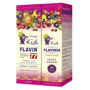 Flavin77 Omega Kid szirup - Pink (250ml) + Flavinia Kid gyümölcskrém - Pink 4x50g -