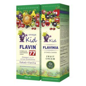 Flavin77 Omega Kid szirup - Zöld (250ml) + Flavinia Kid gyümölcskrém - Zöld 4x50g -