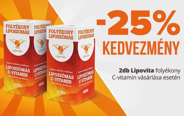 Lipovita Folyékony Liposzómás C-vitamin 25% kedveménnyel!