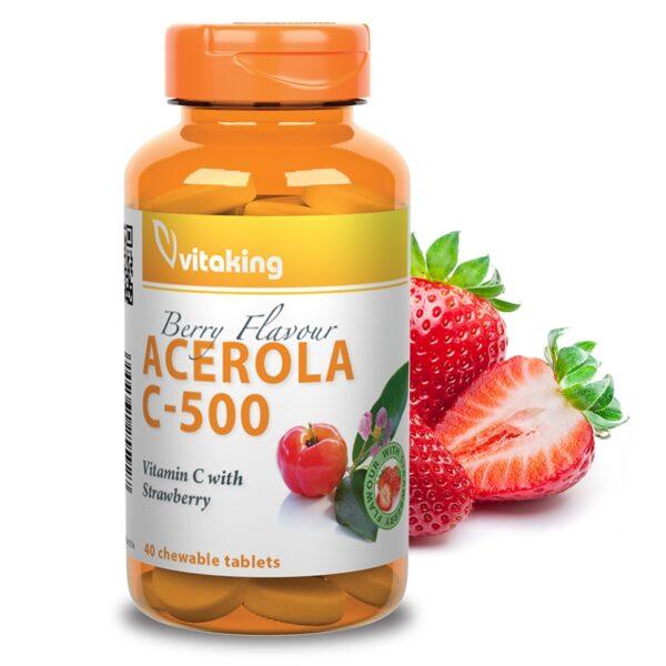 Vitaking C-500 Acerola epres rágótabletta – 40db
