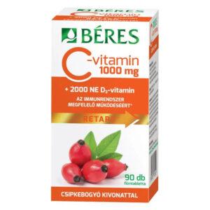 Béres Retard C-vitamin 1000mg + D3-vitamin 2000NE tabletta – 90db