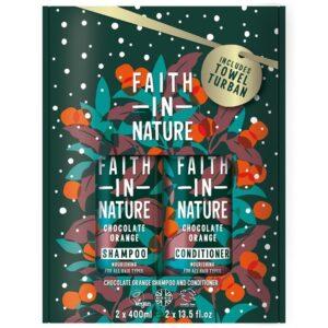 Faith in Nature Csokoládé-narancs sampon + kondicionáló ajándékcsomag - 2x400ml