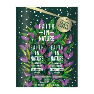 Faith in Nature Levendula-geránium sampon + kondicionáló ajándékcsomag