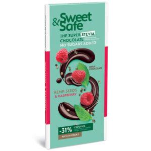 Sweet&Safe Étcsoki steviával málnával és kenderrel - 90g