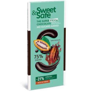Sweet&Safe Diabetikus étcsoki steviával - 90g