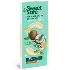Sweet&Safe Fehér tejcsoki kókusz, matcha és citrom - 90g
