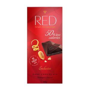 Red csökkentett kalóriájú narancsos-mandulás étcsokoládé - 100g