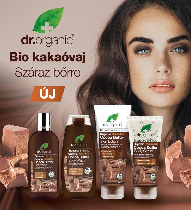 Dr. Organic kakaóvaj termékcsalád - bioaktív bőrápolás akciósan