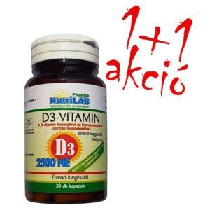 Nutrilab D3-Vitamin 2500NE kapszula 1+1 akció – 30db+30db