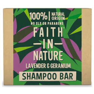 Faith in Nature Sampon Bar – levendula és geránium – 85g
