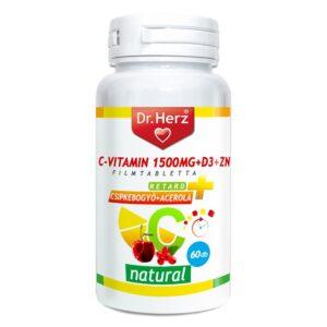 Dr. Herz C+D+Cink C-vitamin 1500mg + D3-vitamin 400NE, csipkebogyó+acerola filmtabletta - 60db