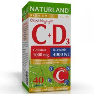 Naturland C+D C-vitamin 1000mg + D3-vitamin 4000NE Prémium tabletta - 40db