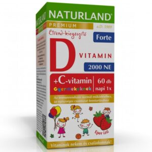 Naturland C+D forte D3-vitamin 2000NE + C-vitamin 50mg eper ízű gyerek rágótabletta - 60db