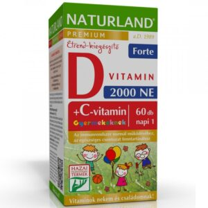 Naturland C+D forte D3-vitamin 2000NE + C-vitamin 50mg Prémium gyerek rágótabletta - 60db
