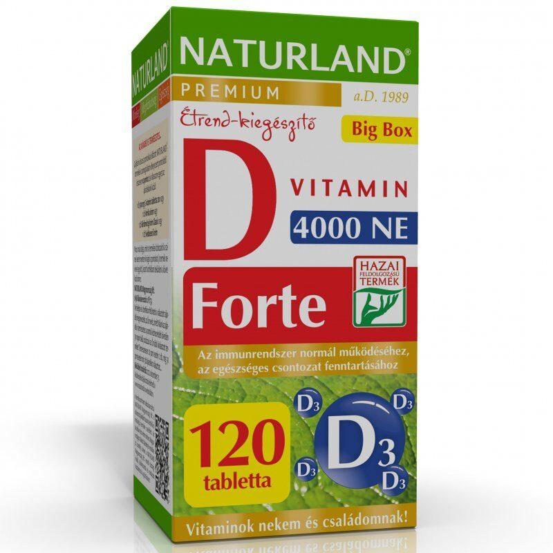 Naturland D3-vitamin 4000NE Forte Prémium tabletta - 120db