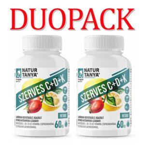Natur Tanya Szerves C+D3+K2 C-vitamin 1000mg + D-vitamin 2000NE DUOPACK - 2x60db