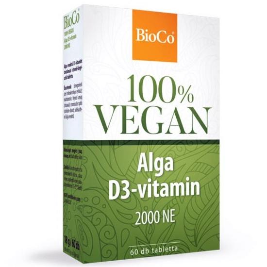 BioCo 100% VEGAN Alga D3-vitamin 2000NE tabletta - 60db