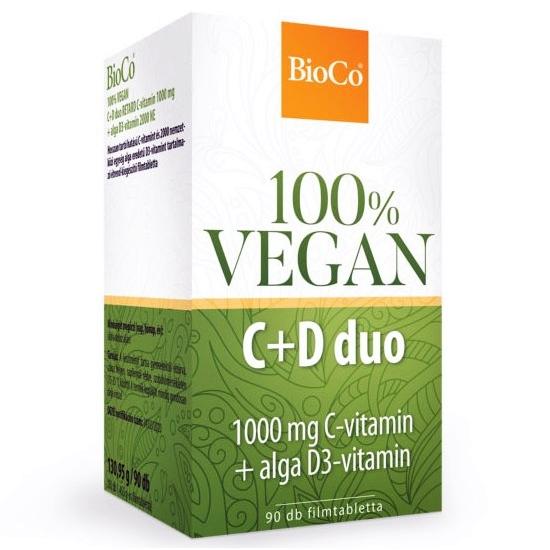 BioCo 100% VEGAN C+D Duo C-vitamin 1000mg + Alga D3-vitamin 2000NE filmtabletta - 90db