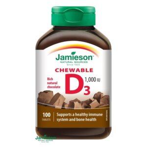Jamieson D3-vitamin 1000IU szopogató tabletta csokis - 100db