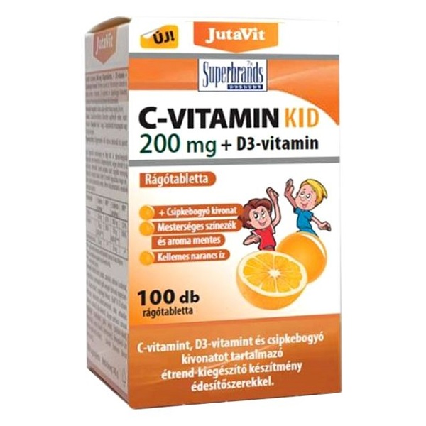 JutaVit Kid C+D C-vitamin 200mg + D3-vitamin 800NE + csipkebogyó kivonat narancs ízű rágótabletta - 100db