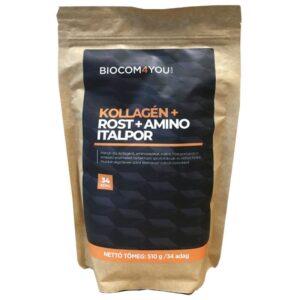 Biocom Kollagén+Rost+Amino mangó ízű italpor utántöltő - 510g