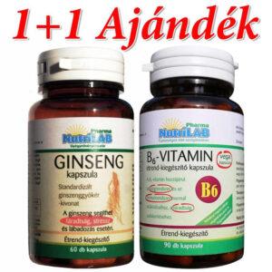Nutrilab Ginseng (Ginzeng) kapszula + Ajándék B6-vitamin kapszula - 60db+90db