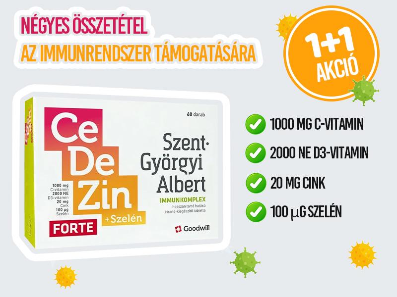 1+1 Akció! Goodwill CeDeZin Forte+Szelén Immunkomplex tabletta most 50% kedvezménnyel!