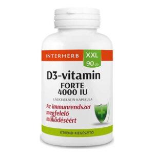 Interherb XXL D3-vitamin 4000 IU lágyzselatin kapszula - 90db
