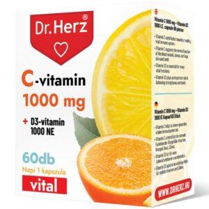 Dr. Herz C-vitamin 1000mg + D3-vitamin 1000NE kapszula - 60db